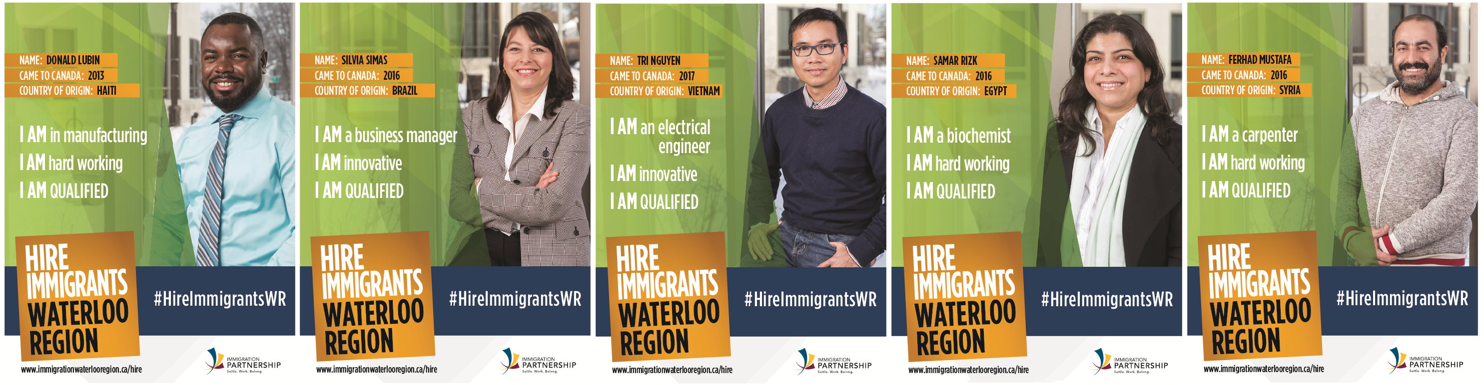 Hire Immigrants Waterloo Region Campaign Posters